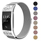 Swees Fitbit Charge 2 Milanese Bands Metal Silver, Replacement Small & Large (5.5'' - 9.9'') Stainless Steel Magnetic Wristband Bracelet Watch Band for Fitbit Charge 2, Silver