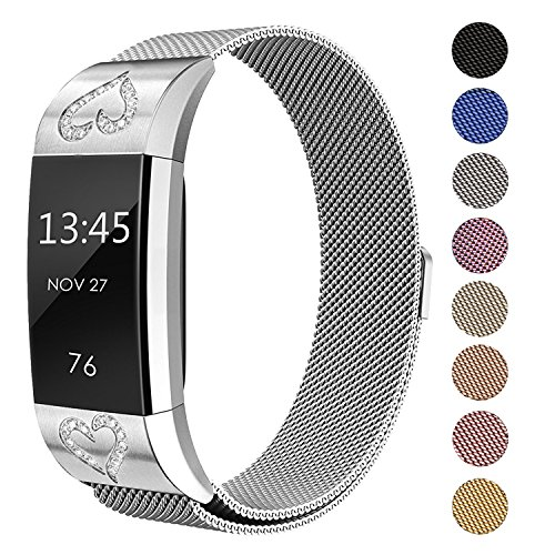 SWEES Fitbit Charge 2 Milanese Bands Metal Silver, Replacement Small & Large (5.5 - 9.9) Stainless Steel Magnetic Wristband Bracelet Watch Band for Fitbit Charge 2, Silver
