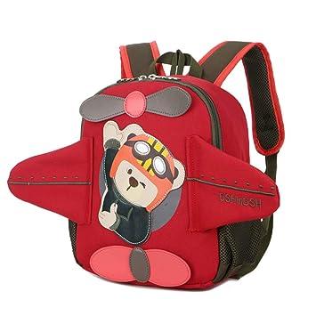AOCT SHOP-Backpack Bolso de Escuela para niños Mochila Boy Girl Bolso para Escuela de Kindergarten Forma de avión Linda Impermeable Cuerda Anti-perdida ...