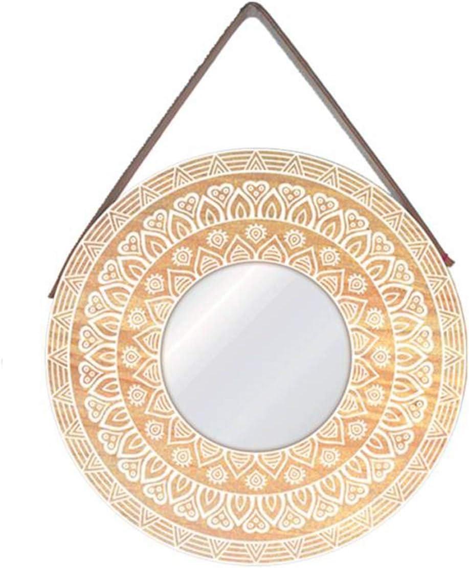 Les Trésors De Lily P8854 Wall Mirror Boho Beige White Mandala 39 Cm 15 35 Furniture Decor