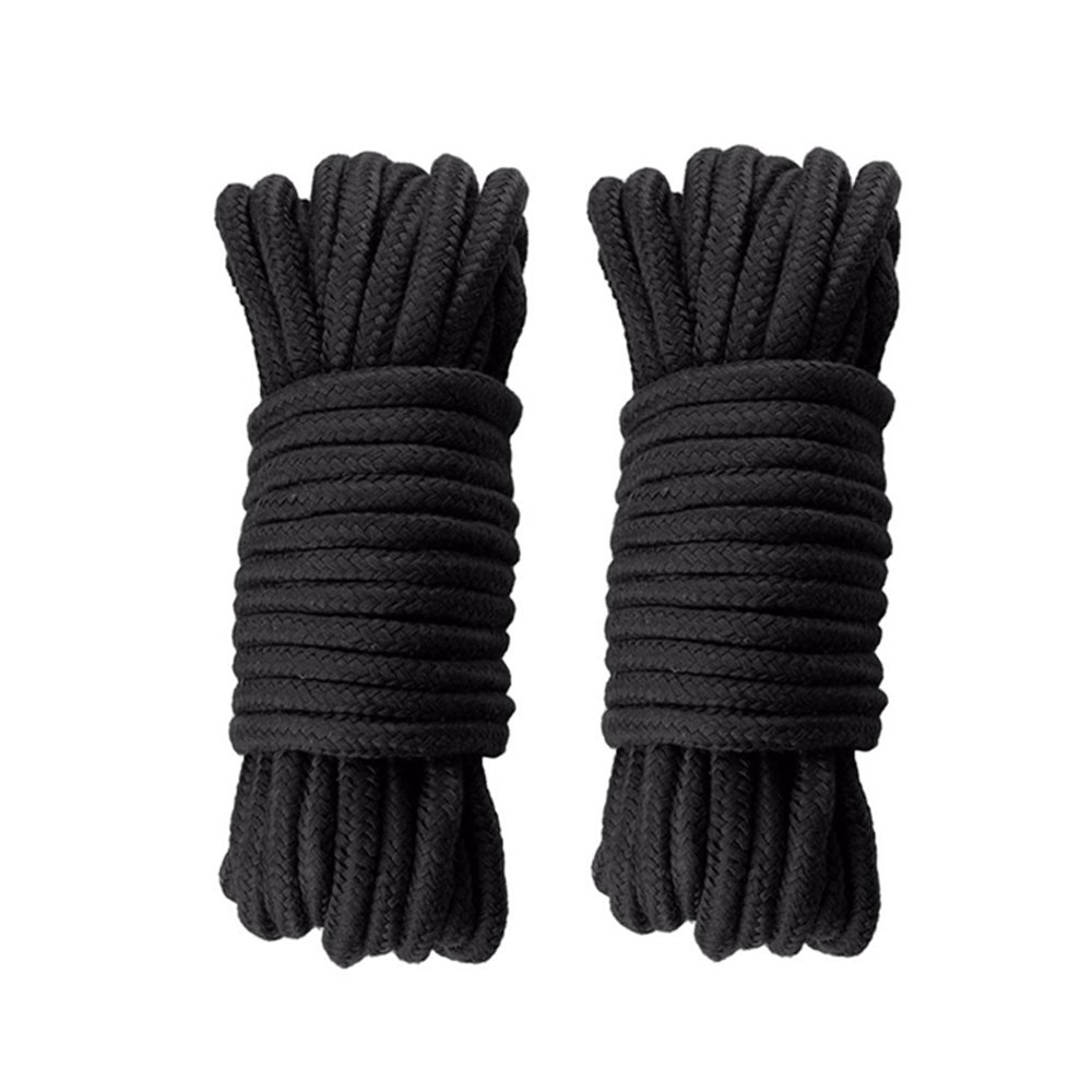 Soft Cotton Rope 2 Pack 32 Feet Durable Long Ropes 1/3 Inch Diameter Knot Tying Rope Thick Packaging String (2 Pack,Black)