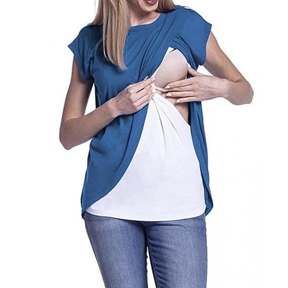 Camiseta para Mujer Top Cruzado Diseño de Capa Premamá y de Lactancia Camiseta de la Blusa de la Capa Doble de la Maternidad 2018 ❤ Manadlian: Amazon.es: ...