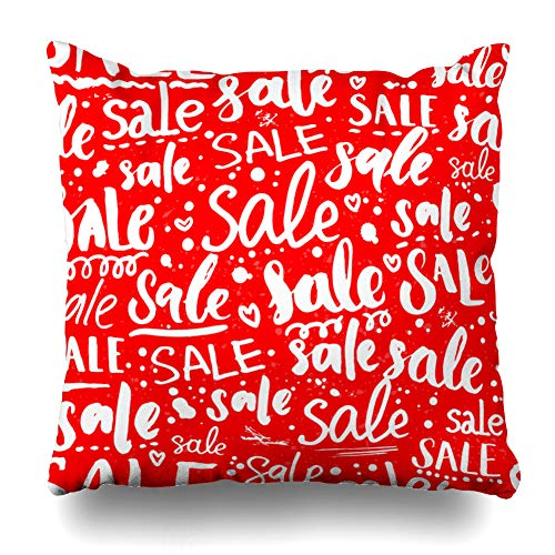 Ahawoso Throw Pillow Cover Script Red Sale Handwritten Text Different in Styles for Promo Lettering Window Design Zippered Pillowcase Square Size 20 x 20 Inches Home Decor Cushion Case