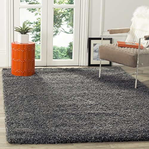 Safavieh California Shag Collection SG151-8484 Dark Grey Area Rug (4' x - Dark Solid Grey