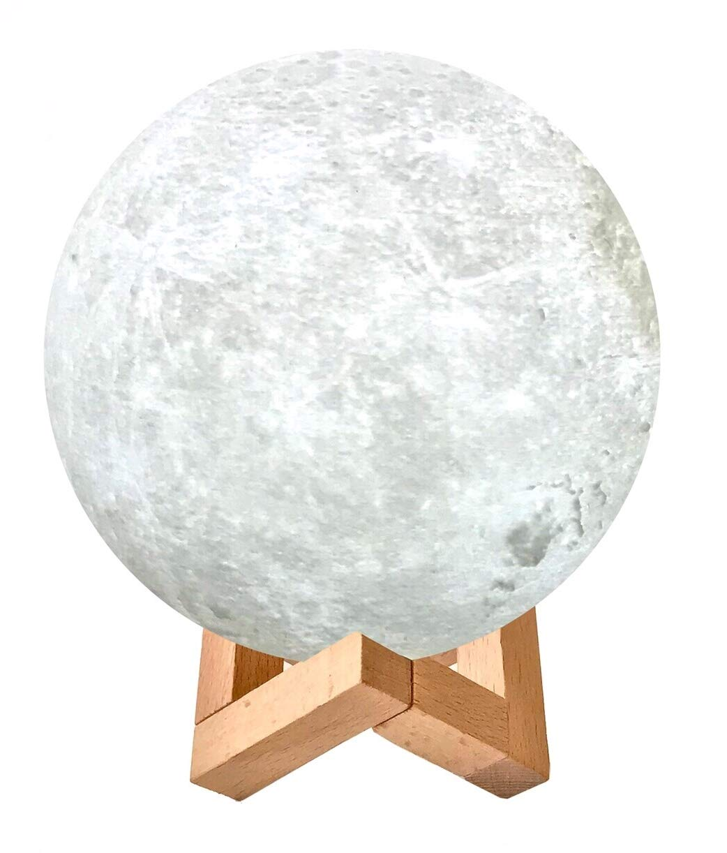 3D Printed 16 Color LED Moon Lamp with Stand. Multicolor RGB Remote Touch Control Decorative Moon Lamp Nightlight Kids Gift with Wooden Stand. USB Charge Adjustable Brightness