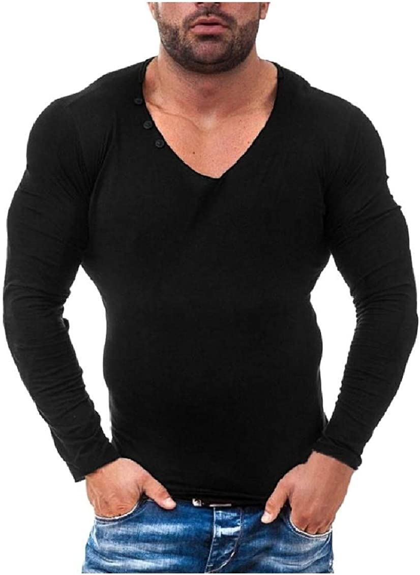 Coolred-Men V Neck Long-Sleeved Solid Crew-Neck Button Down Tee Shirt Tunic