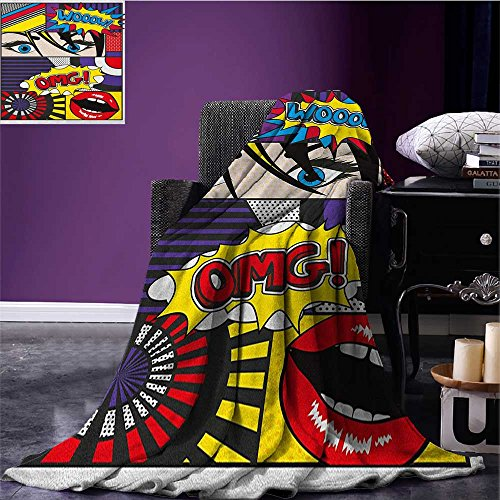 Art picnic blanket Comic Book Inspired Style Wooow Omg Eyes Reading Panels Lines Excitement Action Print soft throw blanket Multicolor (Cot Panel)
