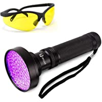 Thigles UV Flashlight Black Light with UV Sunglasses, 100 LED 395nm Ultraviolet Blacklight, Handheld Detector for Dog…