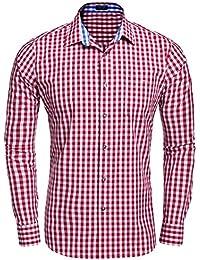 Men's Long Sleeve Plaid Checkered Casual Button-down Shirt