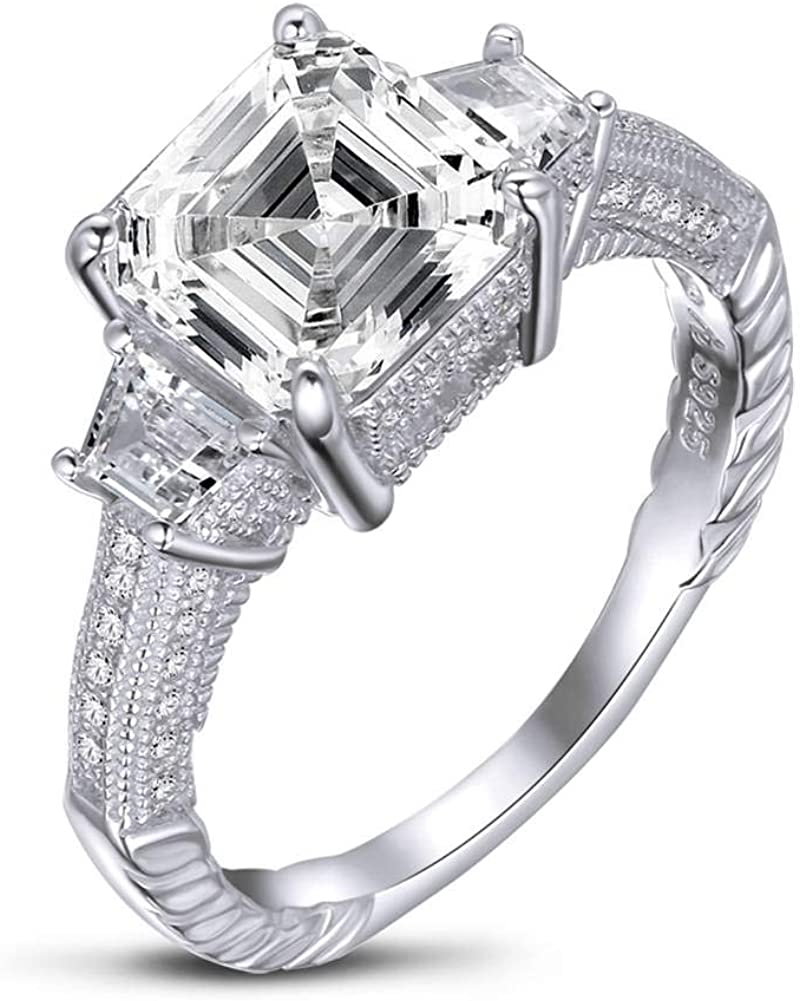 Ladies Sterling 925 Solid Silver Asscher Cut White Sapphire Full Eternity Ring