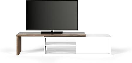 TemaHome Move Mobile Porta TV, Madera, Nogal y Blanco, 110 x 35.4 X 32 cm: Amazon.es: Hogar