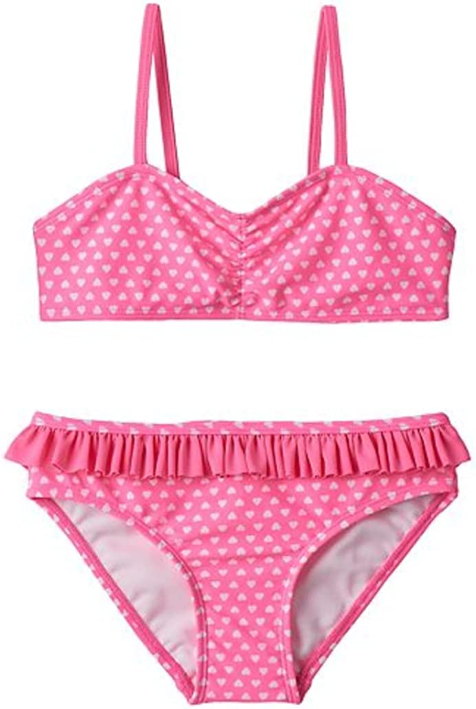 Pink SO Little Girls Foil Heart Bikini Swimsuit Set XXS 4