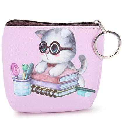 29ae230e3a Sevenmye 1 Piece mini simpatico gatto cerniera Tasca portamonete in pelle  chiave sacchetto style 2: Amazon.it: Cancelleria e prodotti per ufficio
