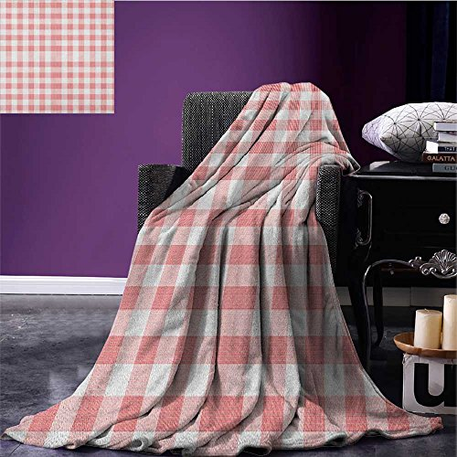 Checkered park blanket Picnic in Countryside Themed Gingham Pattern in Soft Colors Print soft blanket Pink Pale Pink White (Up Country Pink Gingham)