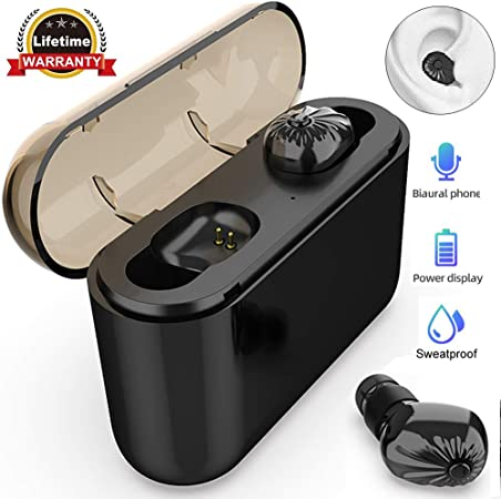 Bluetooth Earbuds True Wireless Earbuds Bluetooth 5.0 6D Stereo Sound Auto Pairing Wireless Headphones in-Ear Bluetooth Headset Charging Case for Samsung iPhone LG Driver Trucker Business Office Man