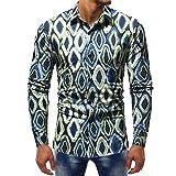 Birdfly Fashion Rhombus Pattern Slim Casual Dress Shirt for Men Daily Casual (XL, Blue)