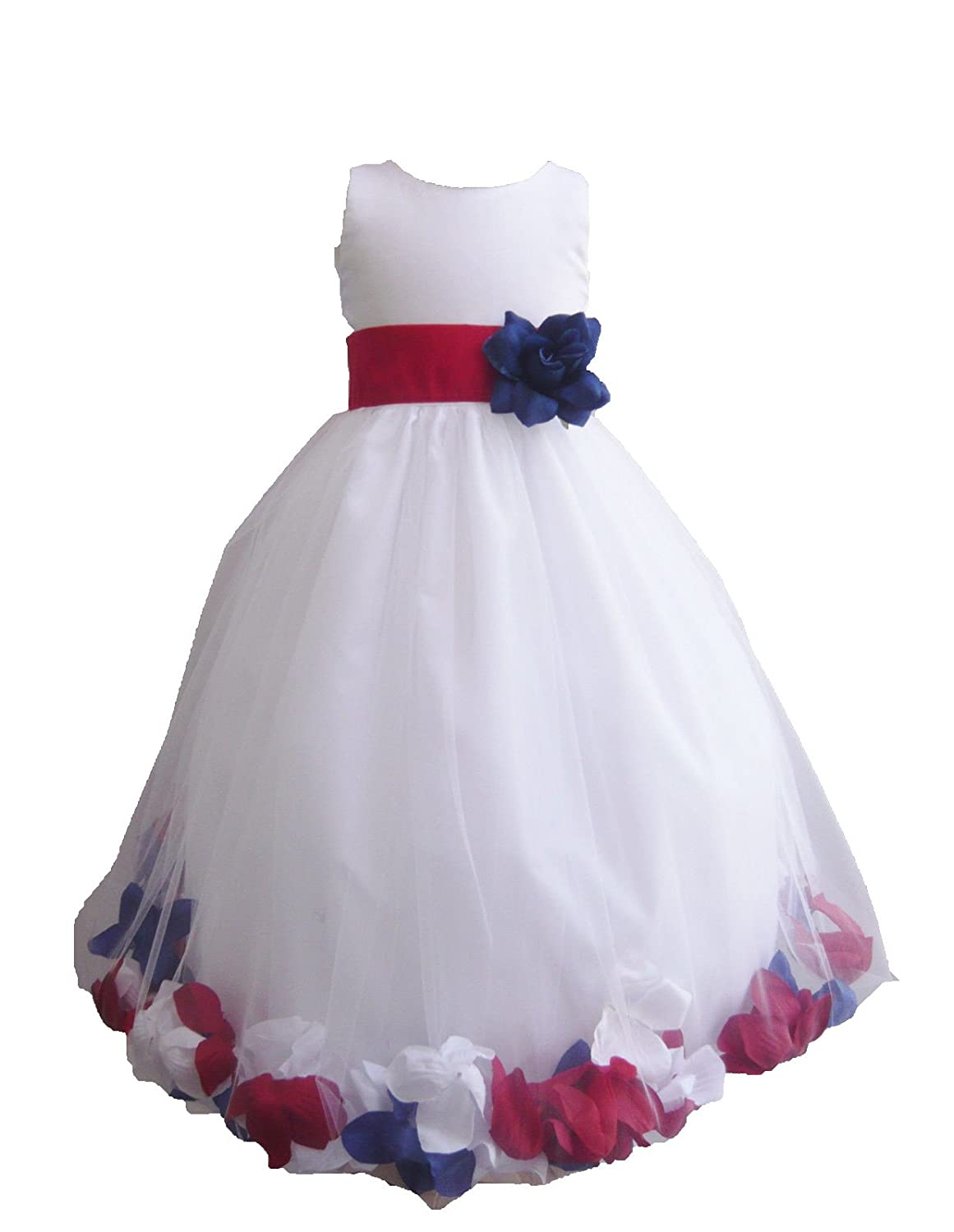 31fb089bc4c Amazon.com  HMF White red white blue Flower Girl Dress with Loose red white  blue Petal  Clothing