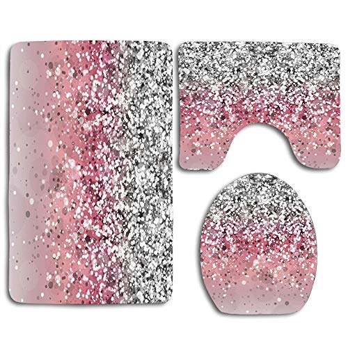 zhurunshangmaoGYS Silver Pink Glitter and Sparkles Cute Soft Comfort Flannel Bathroom Mats,Anti-Skid Absorbent Toilet Seat Cover Bath Mat Lid Cover,3pcs/Set Rugs