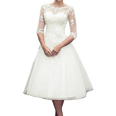 Macria Women s Tea Length 3 4 Sleeve Lace Wedding Dresses Bridal Gowns  Size2 Ivory 0bda6b8597