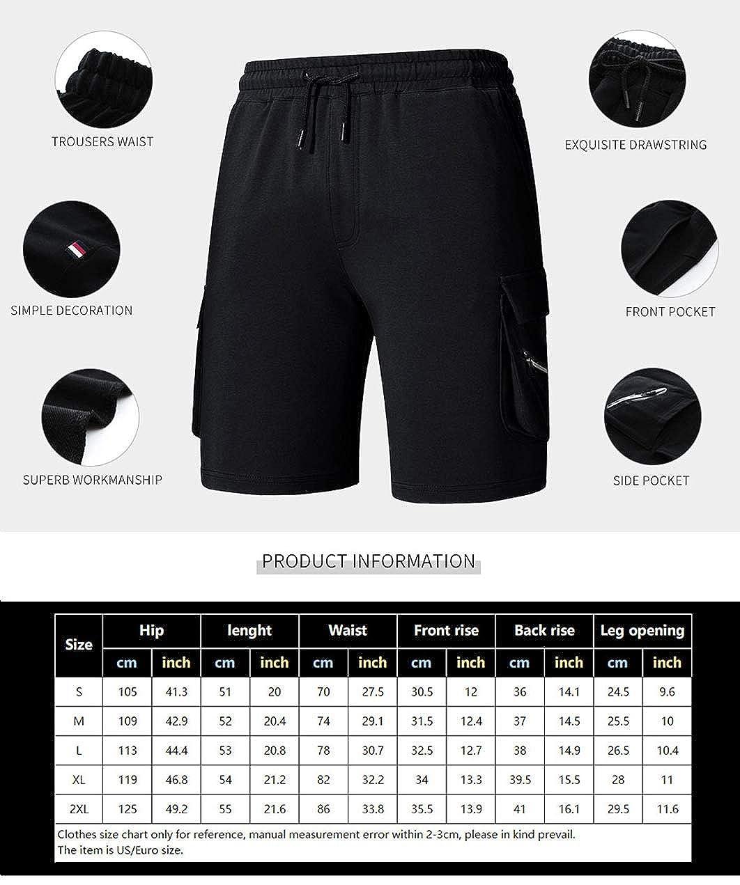 FEOYA Mens Casual Classic Fit Elastic Waist Jogger Gym Shorts with Pockets