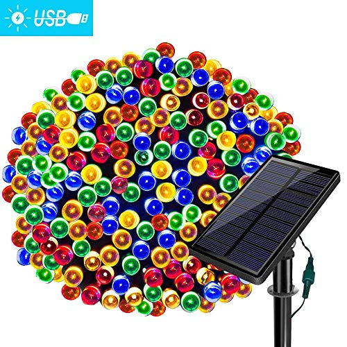 Solarmks Solar Christmas Lights,78ft 220 LED Solar String Lights Waterproof 8 Modes Multicolor Outdoor String Lights, Ambiance Lighting for Patio Lawn Fairy Garden Wedding Holiday Party Xmas Tree