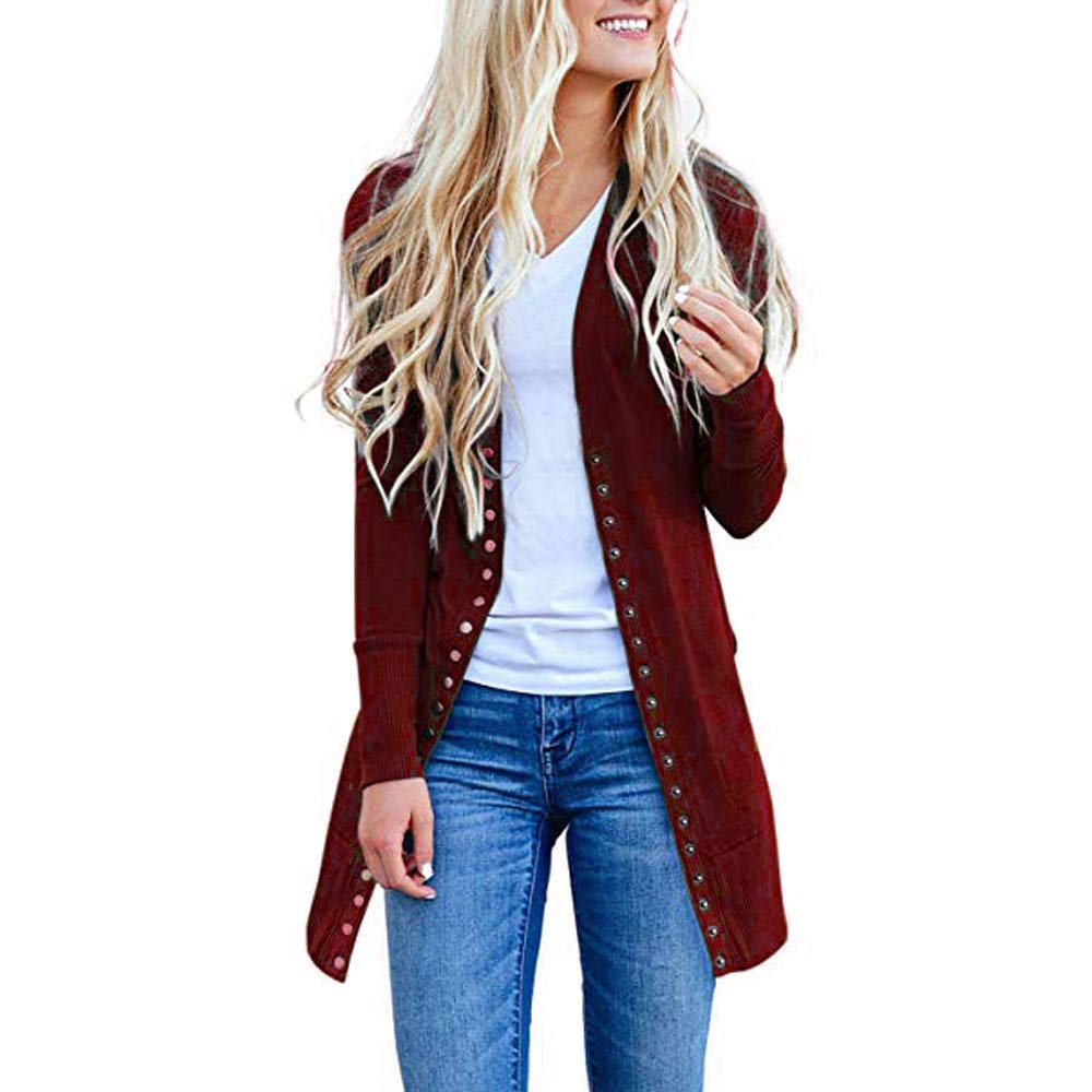 WOCACHI Womens Cardigans Button Down Long Open Front Coat Solid Outwear Sweater WOCACHI-180909