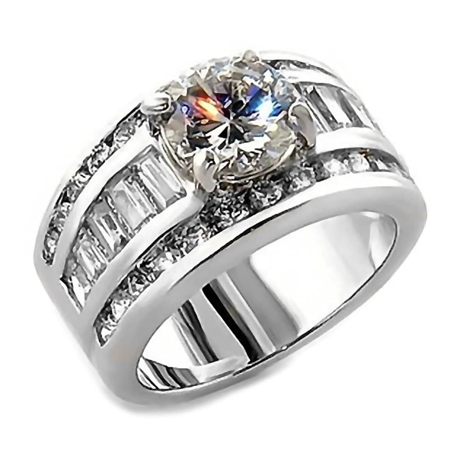 band wedding white gold half media ring eternity with engagement matching rings set