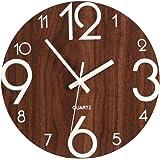 Saytay 木製掛け時計 掛け時計 壁掛け時計 木製指針 天然木 連続秒針 夜光 大文字 無騒音 部屋装飾 プレゼント 直径約30cm (A)