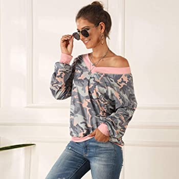Amazon.com: Blusa de manga larga con estampado de hombros ...