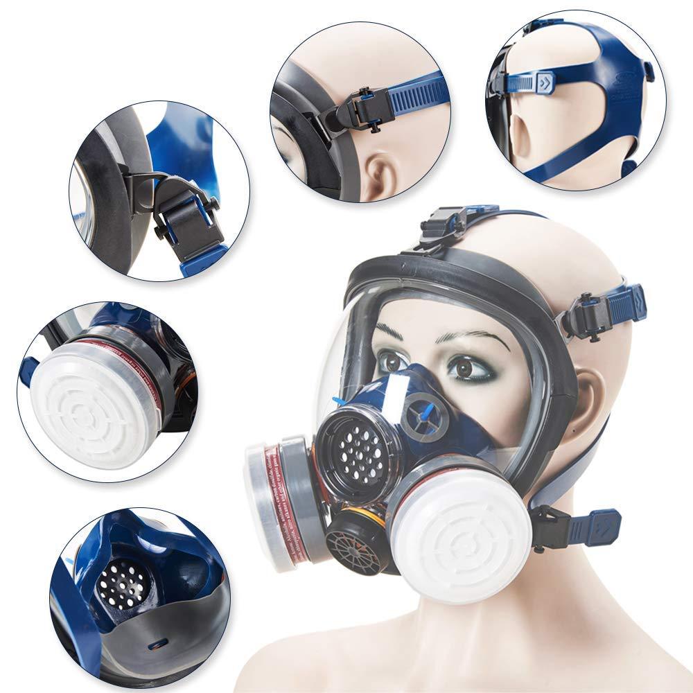 Organic Vapor Full Face Respirator Safety Mask, IVSUN Activated Carbon Respirator Paint Respirator Gas Chemical Dustproof Pesticides Mask (Respirator +1 Pair LDY3 Cartridges) by IVSUN (Image #2)
