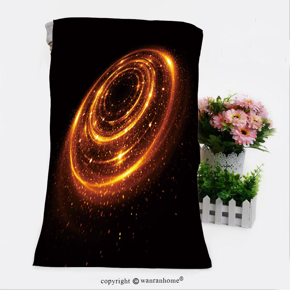 VROSELV Cotton Microfiber Bathroom Bath Towel-glow effect glint galaxy abstract rotational universe power energy glare tape luminous ring Custom pattern of household products(31.5''x63'')