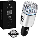 Enoch Car Air Purifier with USB Car Charger 2-Port. Car Air Freshener Eliminate Odor, Dust, Pollen. Removes Smoke, Pet and Food Odor, Ionic Ozone. Ionic Car Deodorizer. Color-Silver