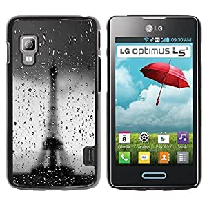 LECELL -- Funda protectora / Cubierta / Piel For LG Optimus L5 II Dual E455 E460 -- Architecture Bokeh Rainy Eiffel Tower --