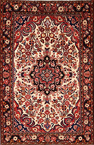 Rug Source 5x8 Hamadan Persian Hand Knotted Area Rug for Dinning Room Beige (7' 11'' x 5' 3'') Wool Hamadan Persian Area Rugs