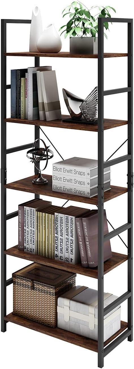 DAWNYIELD Estantería industrial de 5 niveles, de madera, estante de metal, estante de almacenamiento, moderno para dormitorio, sala de estar, oficina en casa, estilo vintage