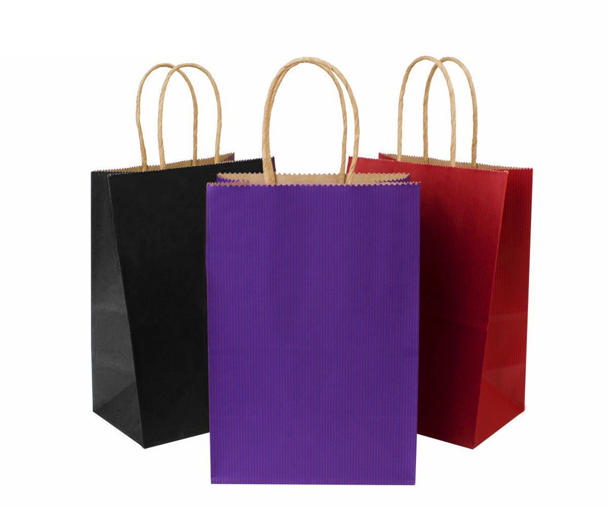 36 Pack BagDream Kraft Paper Bags 5.25''x3.75''x8'' Small Shopping Bag, Kraft Bags, Party Bags, Purple Black Red Paper Bags with Handles (12Pcs Each)