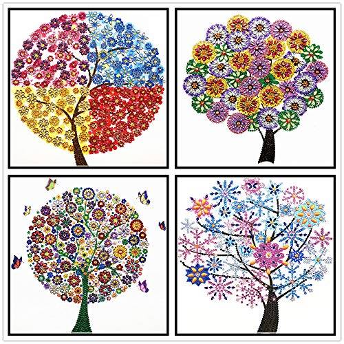 Diamond Painting, Tree Type 4 Pieces 5D DIY Diamond Painting Adult Set Childrens Suit Special Shape Diamond Embroidery Home Wall Decoration Art