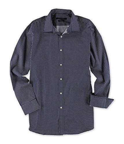 "Sean John Mens Square Print Button Up Dress Shirt, Blue, 16.5"" Neck 34-35"" Sleeve"