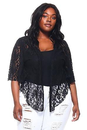 Women s Black Plus Size Cascading Lace Bolero Cardigan Shrug Top at ... 4fc8a7ce0