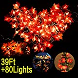 Woqoo 4 Pack Fall Maple Leaves Garland LED Light, 39Ft String Light 80 Light Lamps Battery Powered Indoor Outdoor Garden Decoration Autumn Maple LED String Lights for Holiday Birthday Party Favors