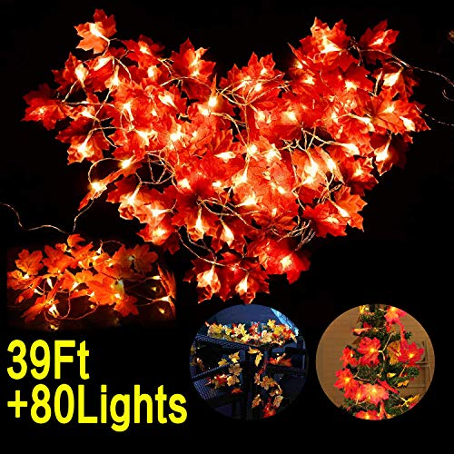 Woqoo 4 Pack Fall Maple Leaves Garland LED Light, 39Ft String Light 80 Light Lamps Battery Powered Indoor Outdoor Garden Decoration Autumn Maple LED String Lights for Holiday Birthday Party Favors -