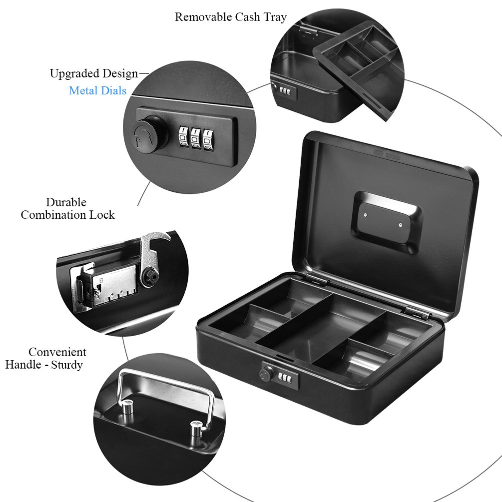 Jssmst Large Cash Box with Combination Lock – Durable Metal Cash Box with Money Tray, Black, 11.81 x 9.84 x 3.46 inches, CB0701XL by Jssmst (Image #6)