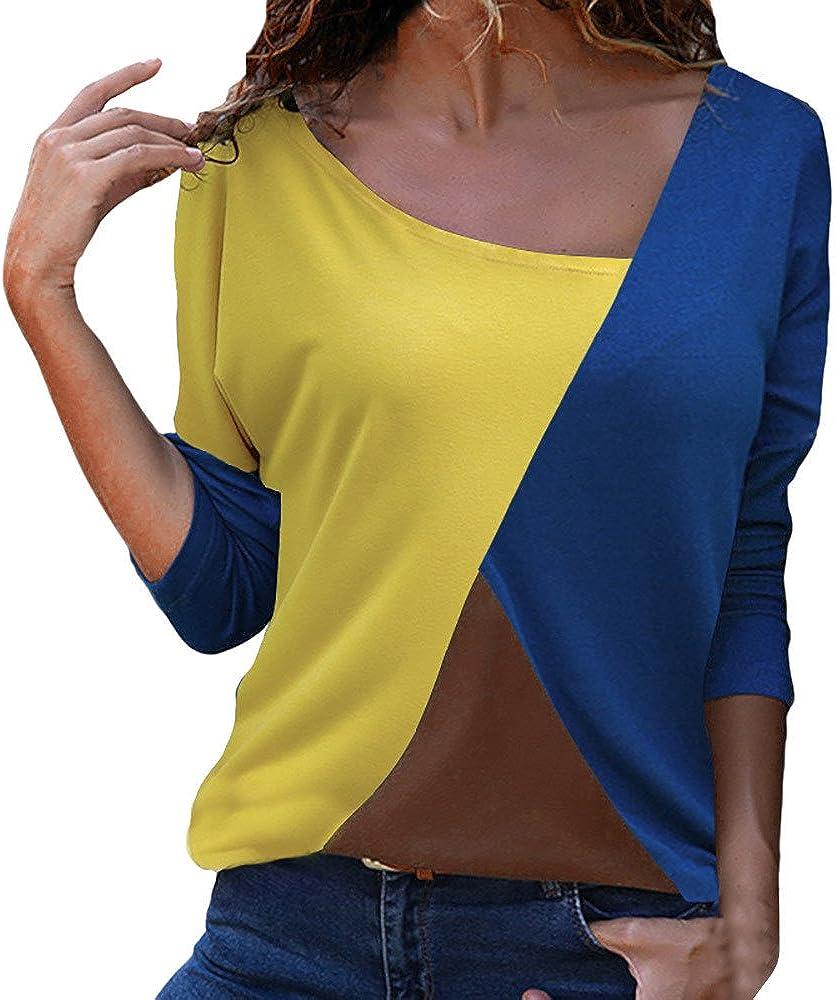 JUTOO T-Shirt d/écontract/é /à Manches Longues pour Femmes
