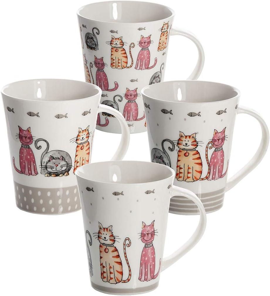 Juego 4 Tazas de Café Te Originales, Tazas Grande Mug, Resistente a Lavavajillas y Microondas, Tazas con Gatos, Regalos Gatos Mujer