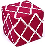 Design Accents Diamond Jacquard Hand Woven Pouf, 18-Inch by 18-Inch by 18-Inch, Fuchsia/Ivory