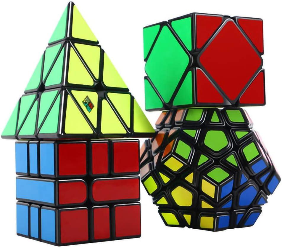 OJIN MoYu MOFANGJIAOSHI Cubing Classroom MFJS Speed Cube Bundle Megaminx & Skewb & Square-1 & Pyramid Bright Magic Cube con Paquete de Regalo + Cuatro Cubos trípodes (Negro): Amazon.es: Juguetes y juegos