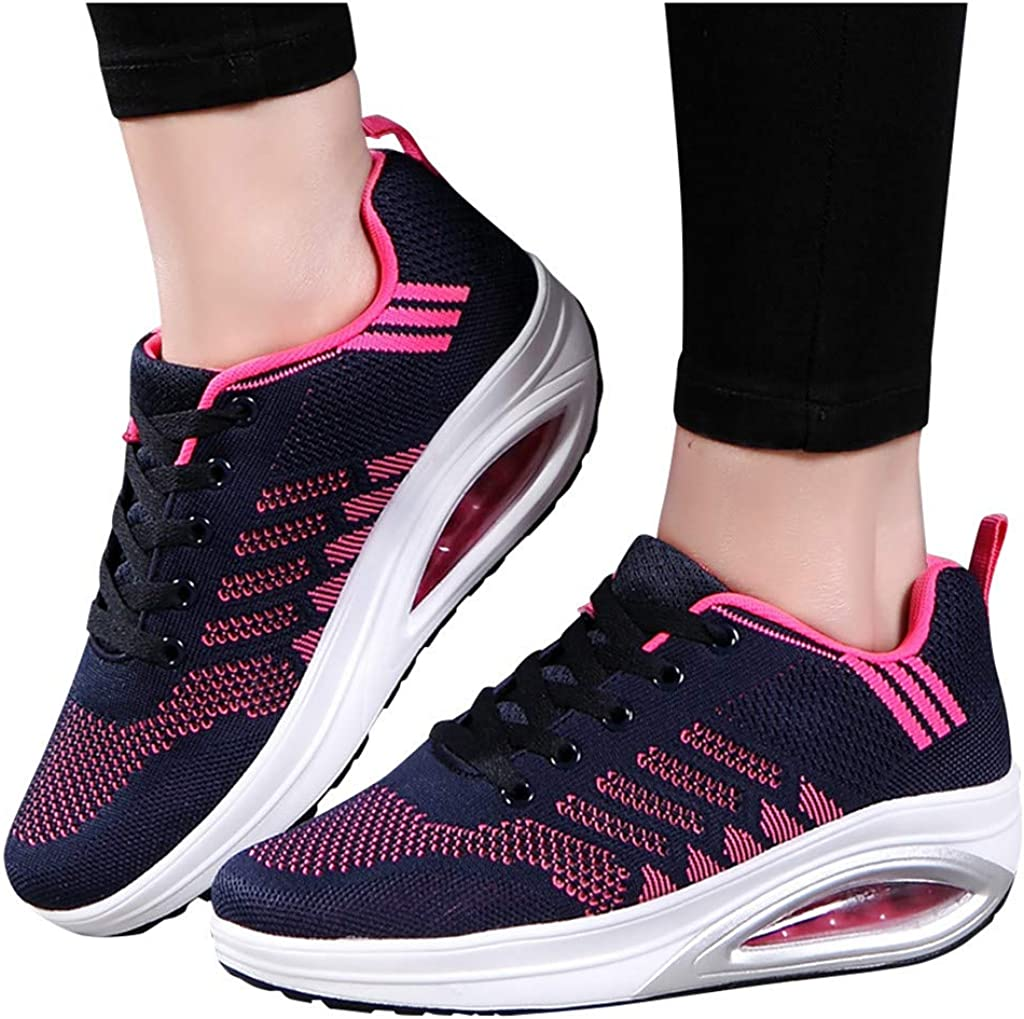 Womens Running Shoes,Frunalte Flying Weaving Sport Shoes Lace Up Casual Shoes Student Fashion Running Sneakers