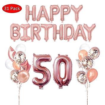 Amycute 31 pcs Decoración de Cumpleaños 50 Años, Happy ...