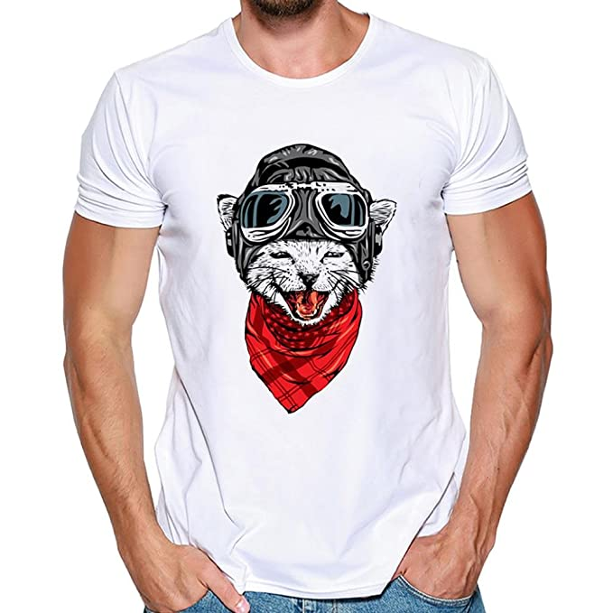 Yvelands Hombres Guapos Súper Personalidad Moda O-Cuello Ocasional Camisetas de Impresión Camiseta de Manga Corta Blusa del Deporte del Caballero Tops, ...