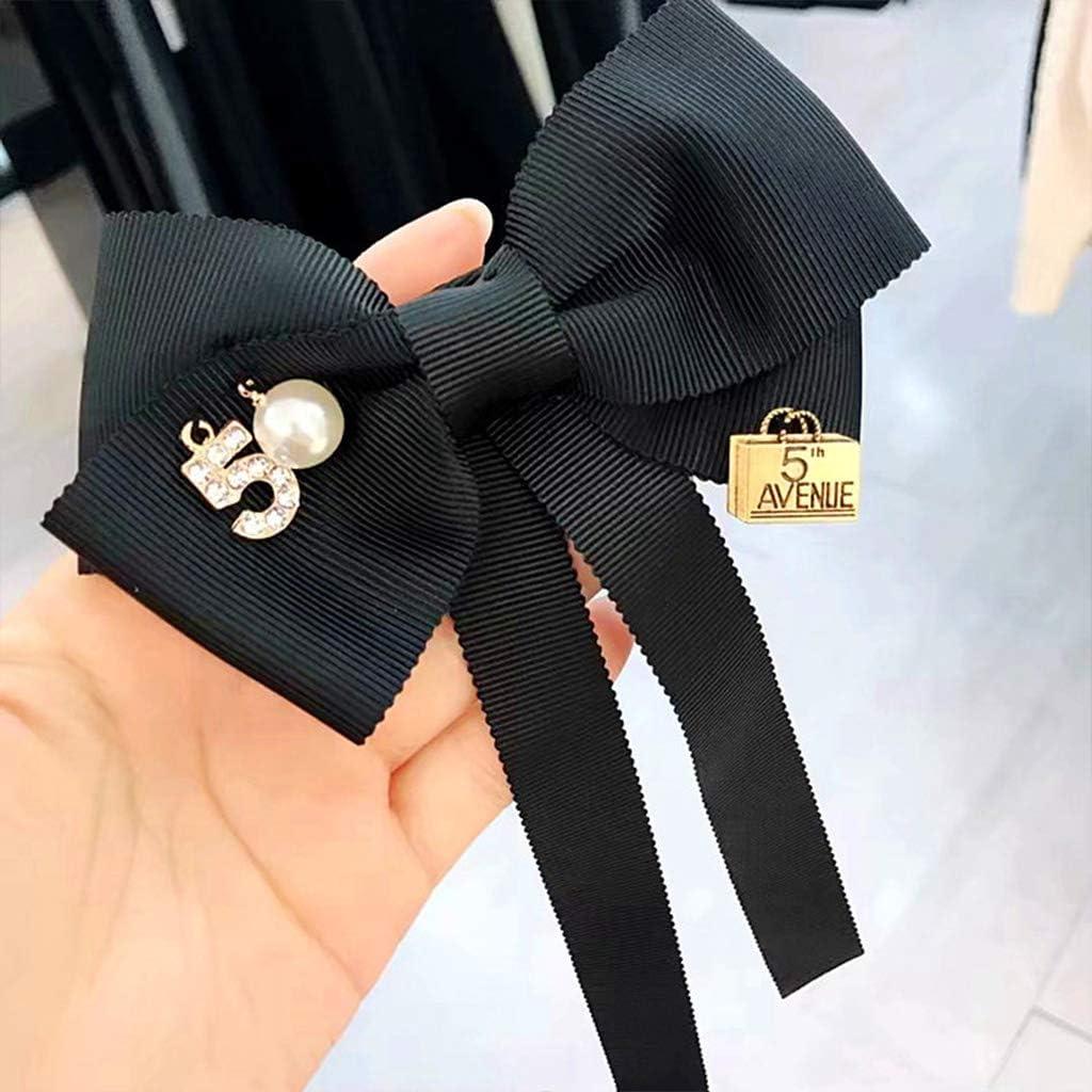 vorgebundene Krawatte lang WT-BLVUVY Damen-Brosche mit Schleife mit Kunstperlen